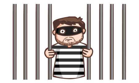 brigand: prisoner in the jail vector illustration Illustration