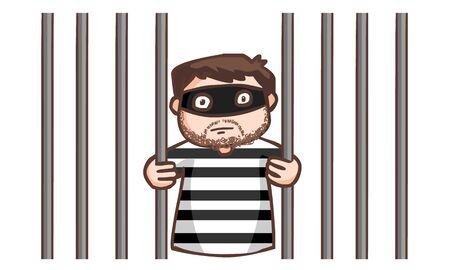 prisoner in the jail vector illustration Illustration
