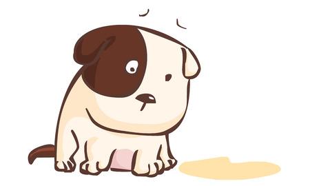 sad dog sitting on the ground vector illustration Illusztráció