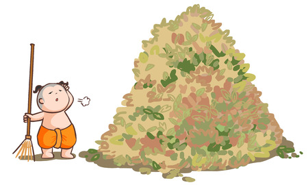 staunch: Thai kid sweep the huge pile leaves vector illustration Illustration