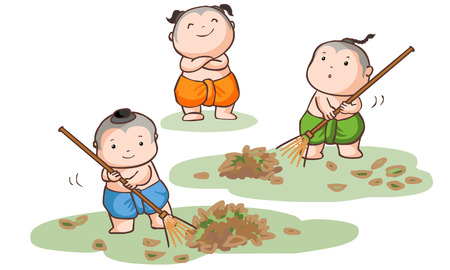 besom: Three Thai kids sweep the leaves on the ground vector illustration