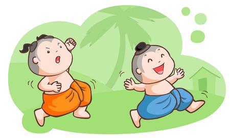 Thai kids tease each other in the garden vector illustration