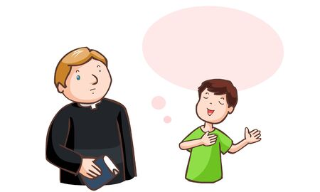 cleric: The boy said to pastor with balloon speech vector illustration
