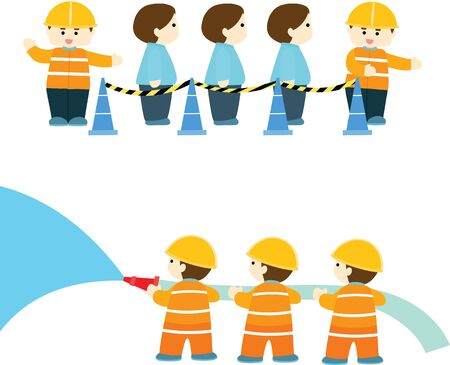 calm down: emergency practice in factory info graphic vector illustration