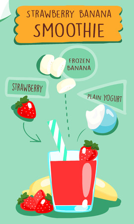 cartoon strawberry: Strawberry smoothie recipe vector illustration