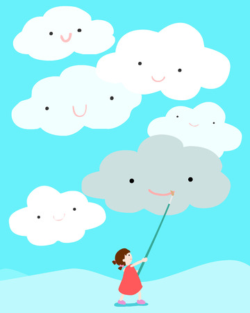 expedient: girl positive thinking draw smile on cloud vector illustration