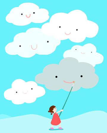 gleeful: girl positive thinking draw smile on cloud vector illustration