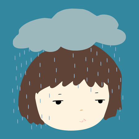 depress: Why does it always rain on me vector illustration