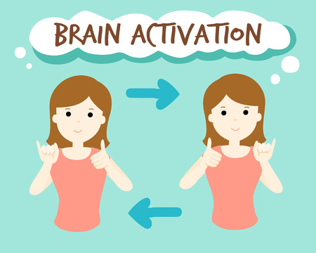 activation: brain activation by finger exercise vector illustration