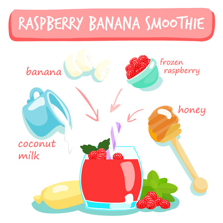 palatable: raspberry banana smoothies vector illustration Illustration