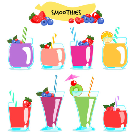 energize: many kind of healthy and delicious smoothies vector illustration Illustration