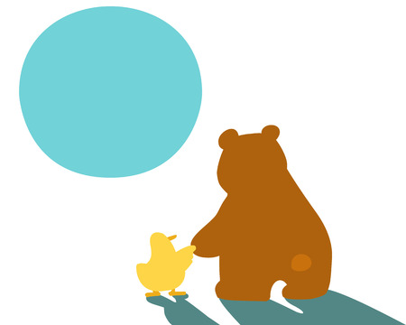 hold hand: little duck hold hand big bear vector illustration