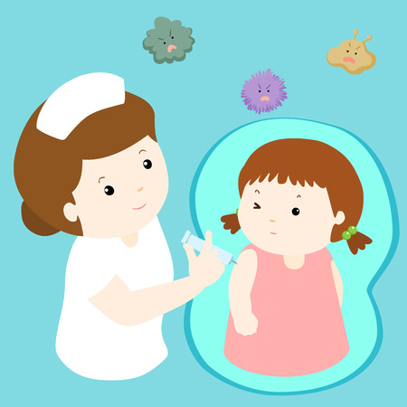 nurse giving vaccination injection to little girl vector illustration Vettoriali