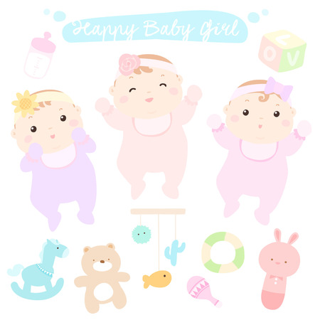 cute baby girls: Happy little cute baby girls vector illustration