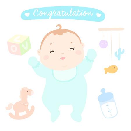 nephew: congratulation new happy baby boy vector illustration