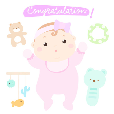 woman hanging toy: congratulation new adorable baby girl vector illustration