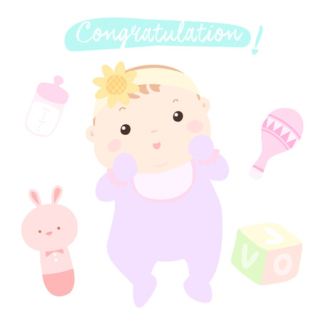 woman hanging toy: congratulation new little baby girl vector illustration