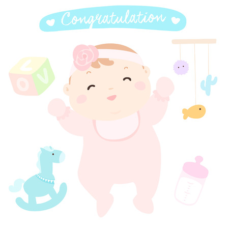 woman hanging toy: congratulation new happy baby girl vector illustration