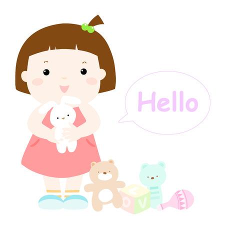 little cute girl hug rabbit doll vector illustration