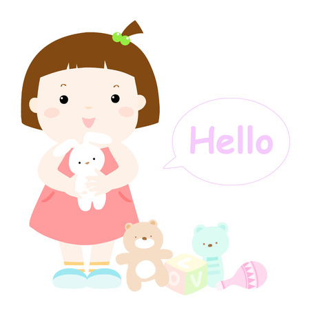 little cute girl hug rabbit doll vector illustration 版權商用圖片 - 41509137