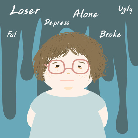 fat woman sad and think negative vector illustration Illustration