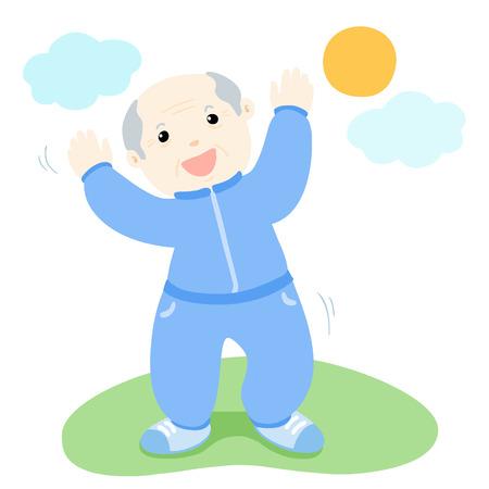senior exercise: senior man love to exercise vector illustration