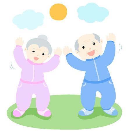 decrepit: happy senior love to exercise vector illustration Illustration