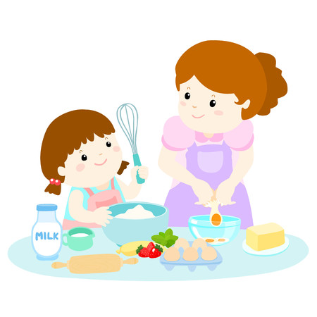 Little daughter cooking with her mother vector illustration