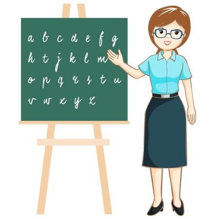 teacher teaching: Teacher teaching alphabet on blackboard vector illustration