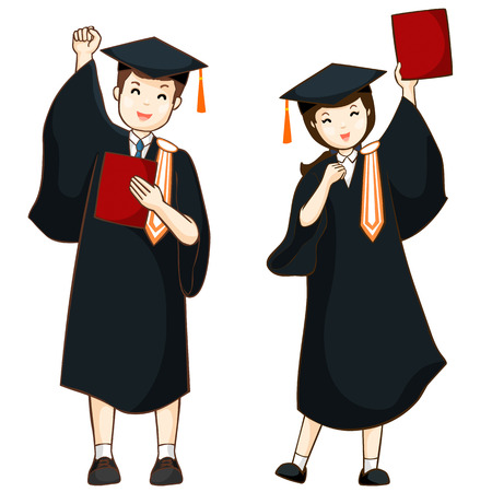 boy and girl graduate from high school illustration
