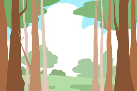breezy: forest trees landscape  vector background illustration