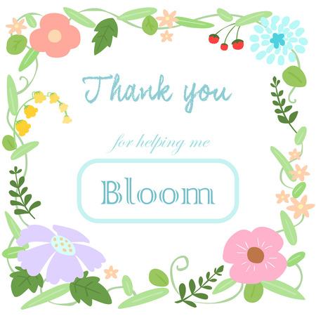 realize: flower bloomThank you card vector illustration