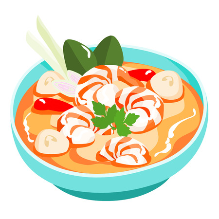 Tom yum kung Thai spicy soup vector illustration Иллюстрация