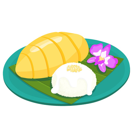 thai dessert: Mango with sticky rice thai dessert vector illustration