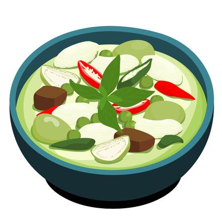 그린 치킨 카레 인기있는 태국 음식 벡터 일러스트 레이 션