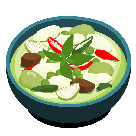 카레: Green Chicken Curry popular Thai food vector illustration