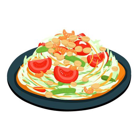 スパイシーな人気のあるパパイヤ タイのサラダのベクトル図