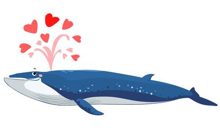 spurt: Brydes whale spurt water with heart vector illustration Illustration
