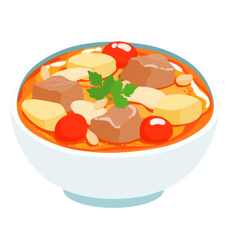 카레: massaman Thai curry with beef vector illustration