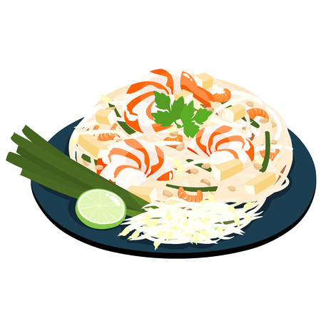 fried noodles: Fried noodles popular thai food vector illustration