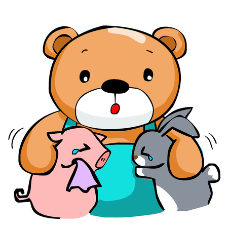 dependable: cute big bear and best friend vector illustration