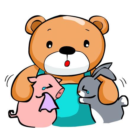 glum: cute big bear and best friend vector illustration