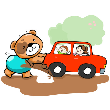 stuck: cute bear help car stuck on mud vector illustration