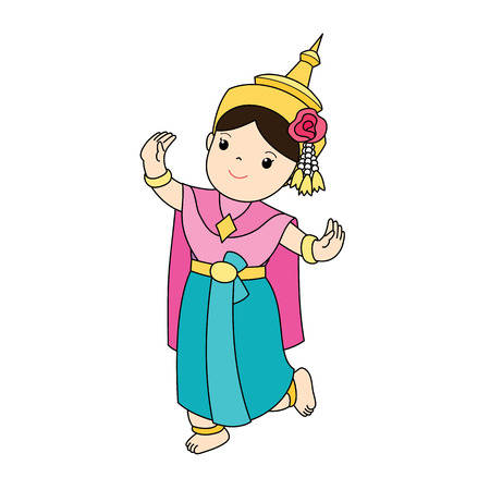 traditional classical Thai dancing woman vector illustration