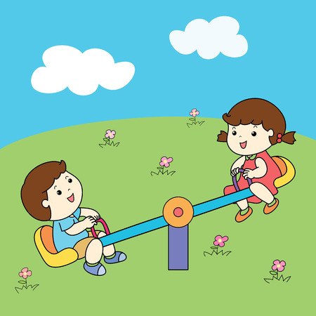 twit: cute boy and girl playing seesaw board vector illustration Illustration