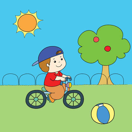 red shirt: blue hat red shirt boy riding bicycle vector illustration Illustration