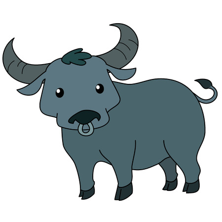 cute Thai buffalo standing on white background vector illustration