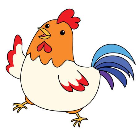poke: cute colorful chicken take a walk vector illustration