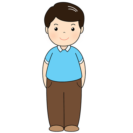 earthing: a man wear blue polo shirt standing vector illustration