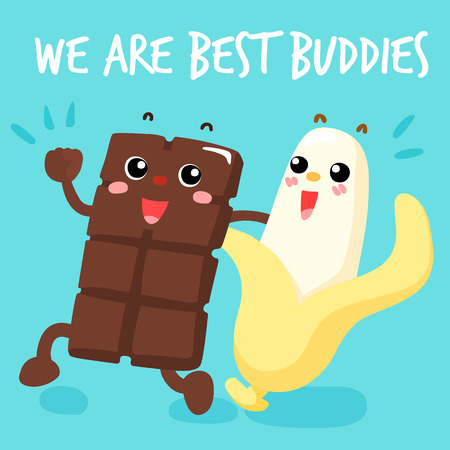 Chocolate and banana are best buddies vector illustration